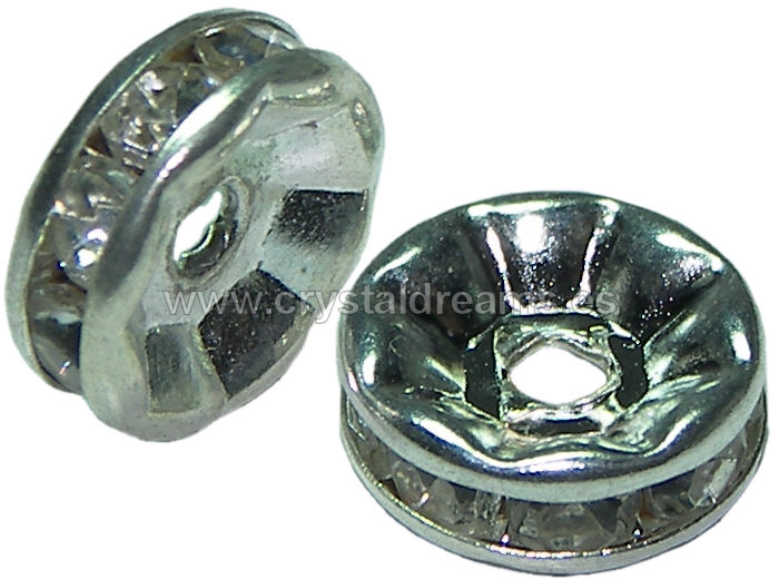 "Distanciadores de metal 10mm ""Silver -Crystal"""