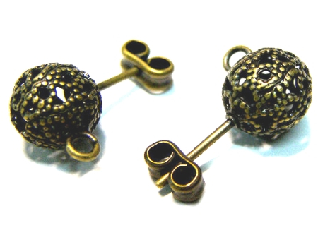 2 X PENDIENTE a Enchufe Bronce 9mm + TRASERA Agujero: 1,2mm