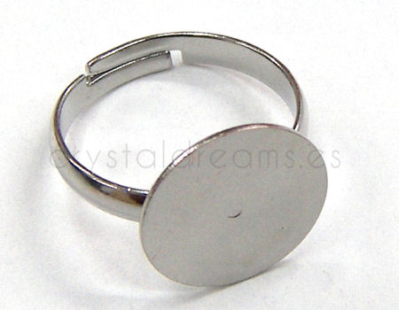 Anillo con disco plano de 14 mm color Platinum x1