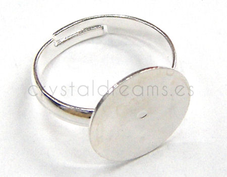 Anillo con disco plano de 14 mm color Silver x1