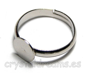 Anillo Platinum Color base redonda 8mm