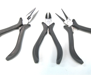 Set of 3 Round Nose Pliers CarbonSteel - Cutting, Flat and Round