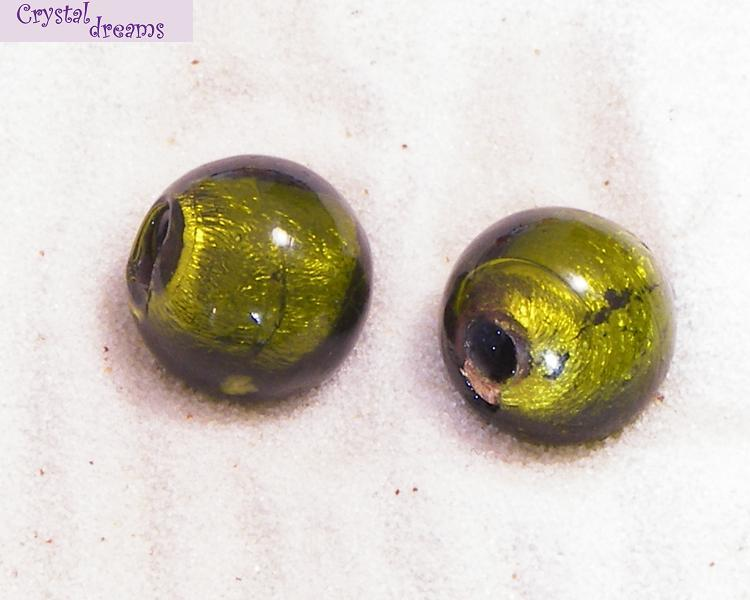 "Glass Beads ""Medium Round\"" Olivine x 1"