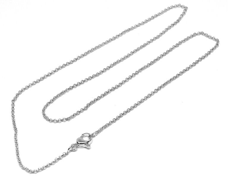 Collana di catena con moschettone placcatura Platinum Real 45cm