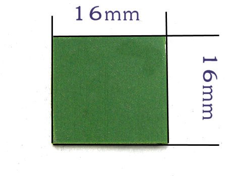 Base plana per mosaico 16mm x 16mm - 1,5mm approx. Green