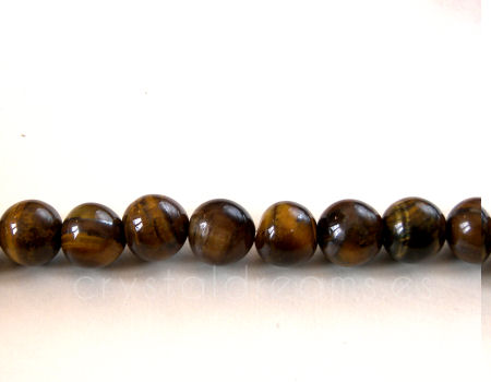 10x Cuentas 6mm Tiger eye - Agujero: 1mm