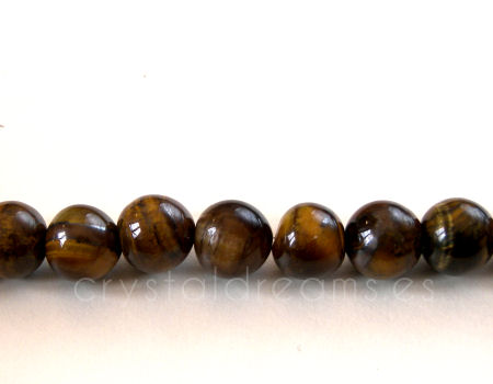 10x Cuentas 8mm Tiger eye - Agujero: 1mm