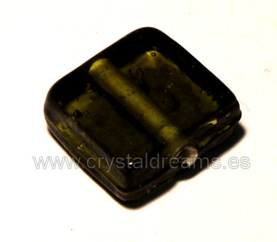 "Glass Beads 12mmx12mm ""Squared\"" Olive x1"