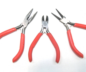 Set of 3 Round Nose Pliers Steel - Cutting, Flat and Round