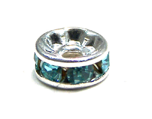 Distanciadores de metal Silver 4mm Aquamarine